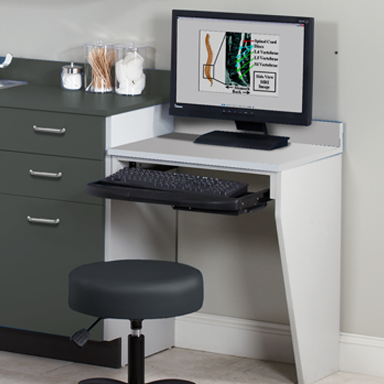 079 C & Computer Station Wall Mount Desk with 1 Leg | Clinton Industries