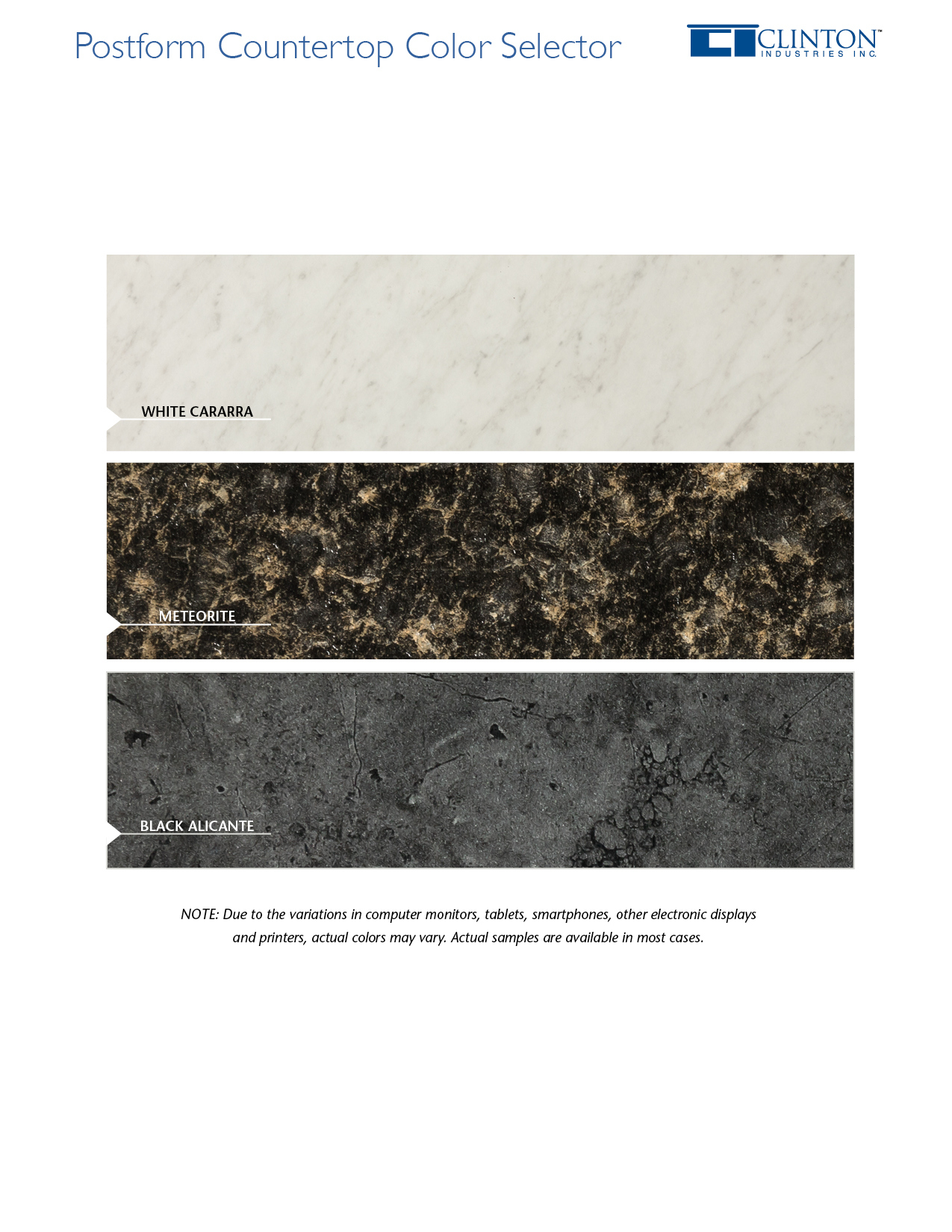 Postform Countertop Color Selector