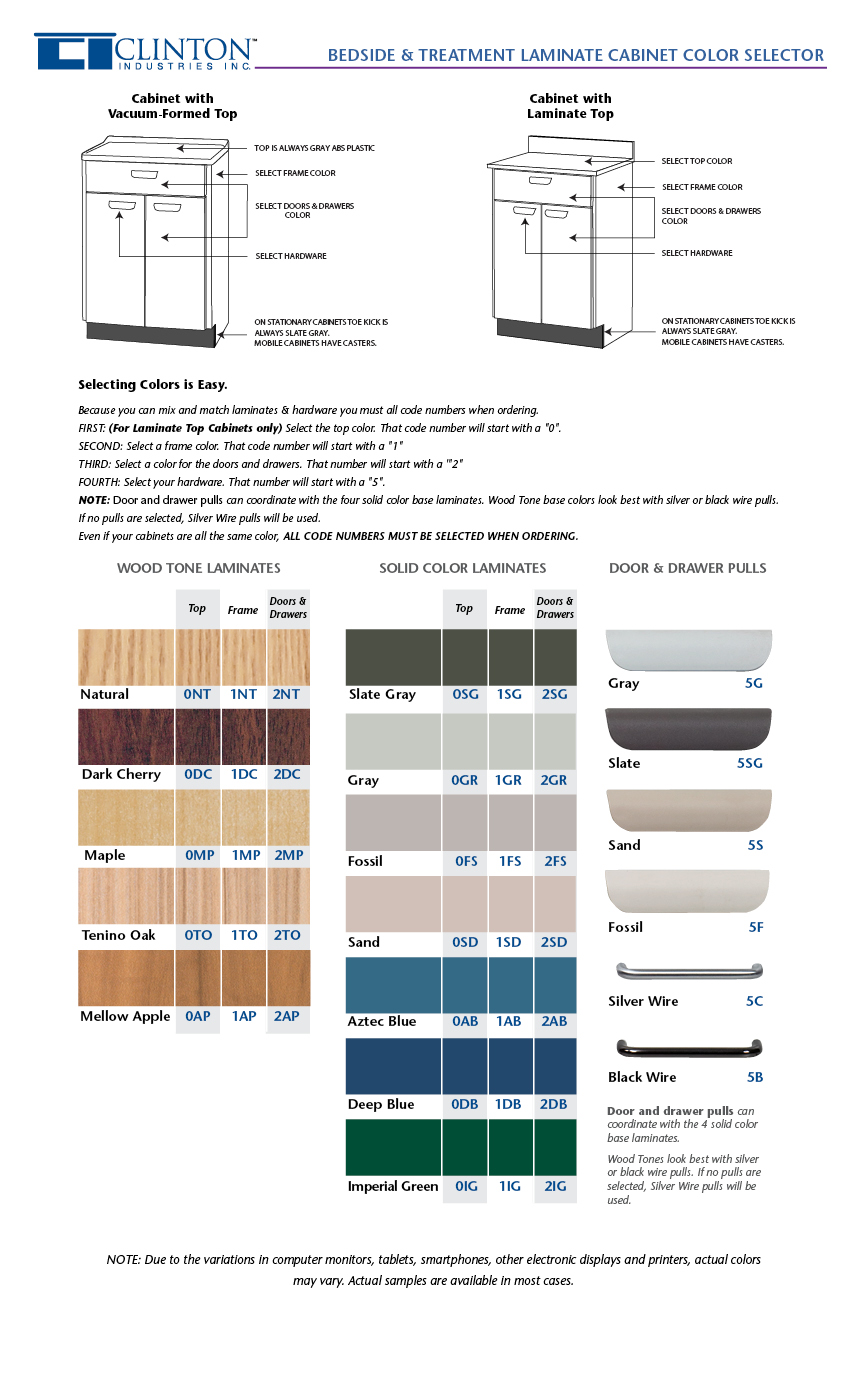 Bedside & Treatment Laminate Cabinets Color Selector