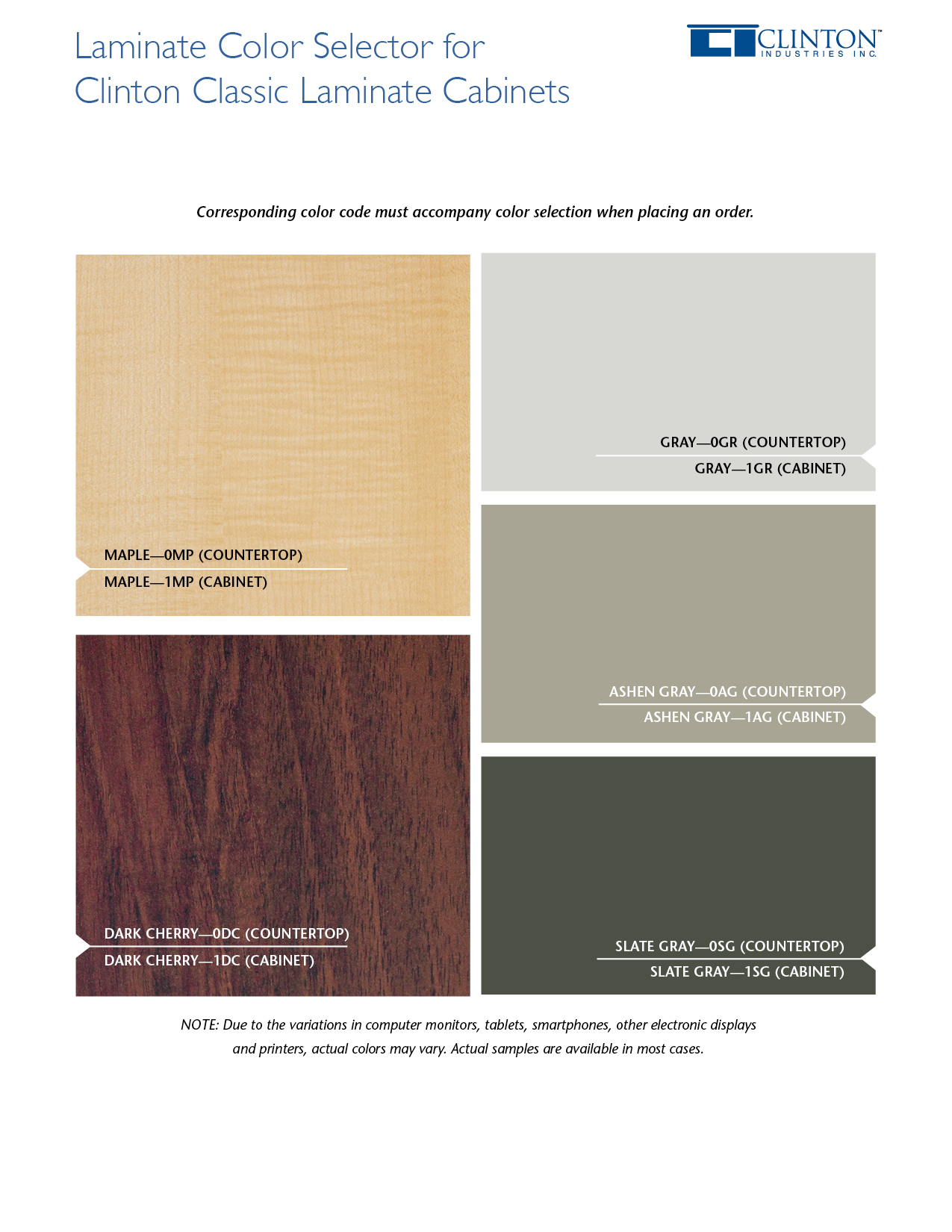Classic Laminate Cabinets Color Selector