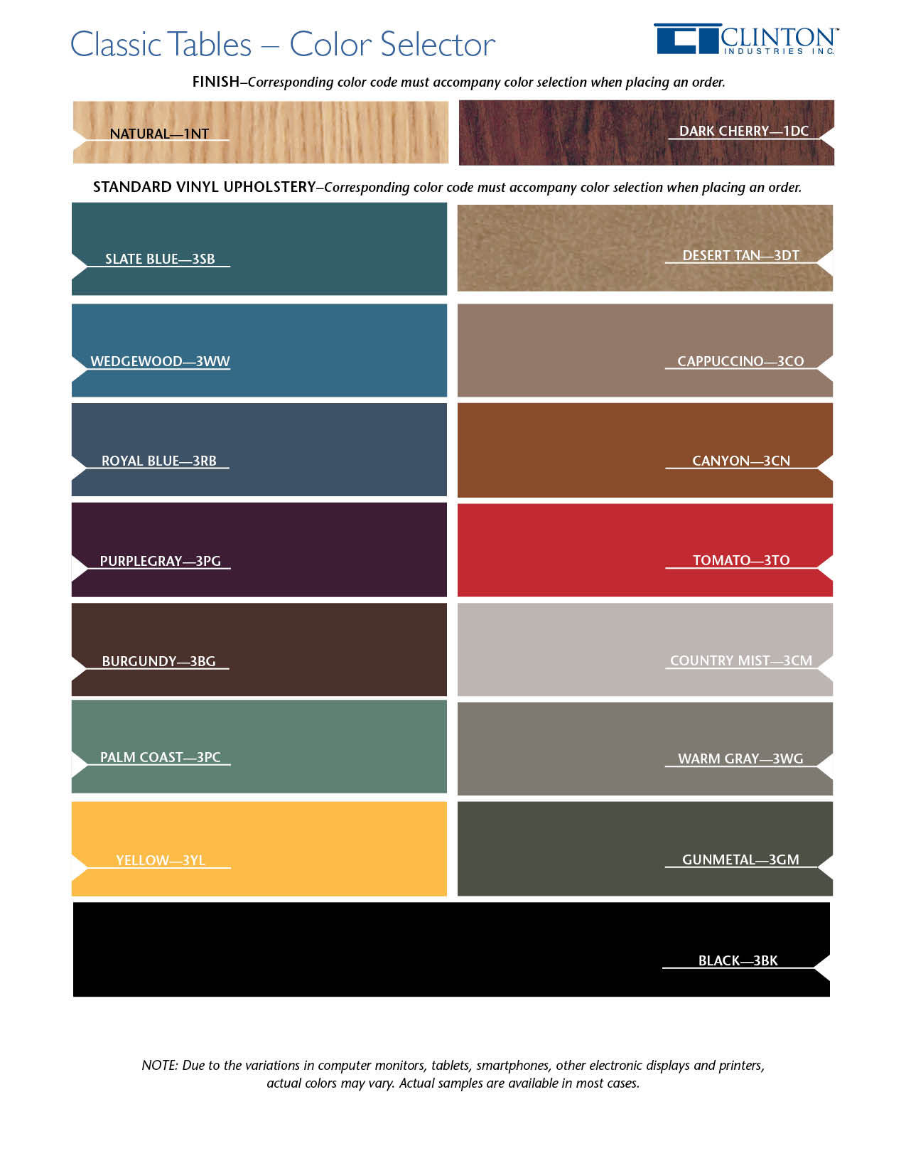 Classic Tables Color Selector