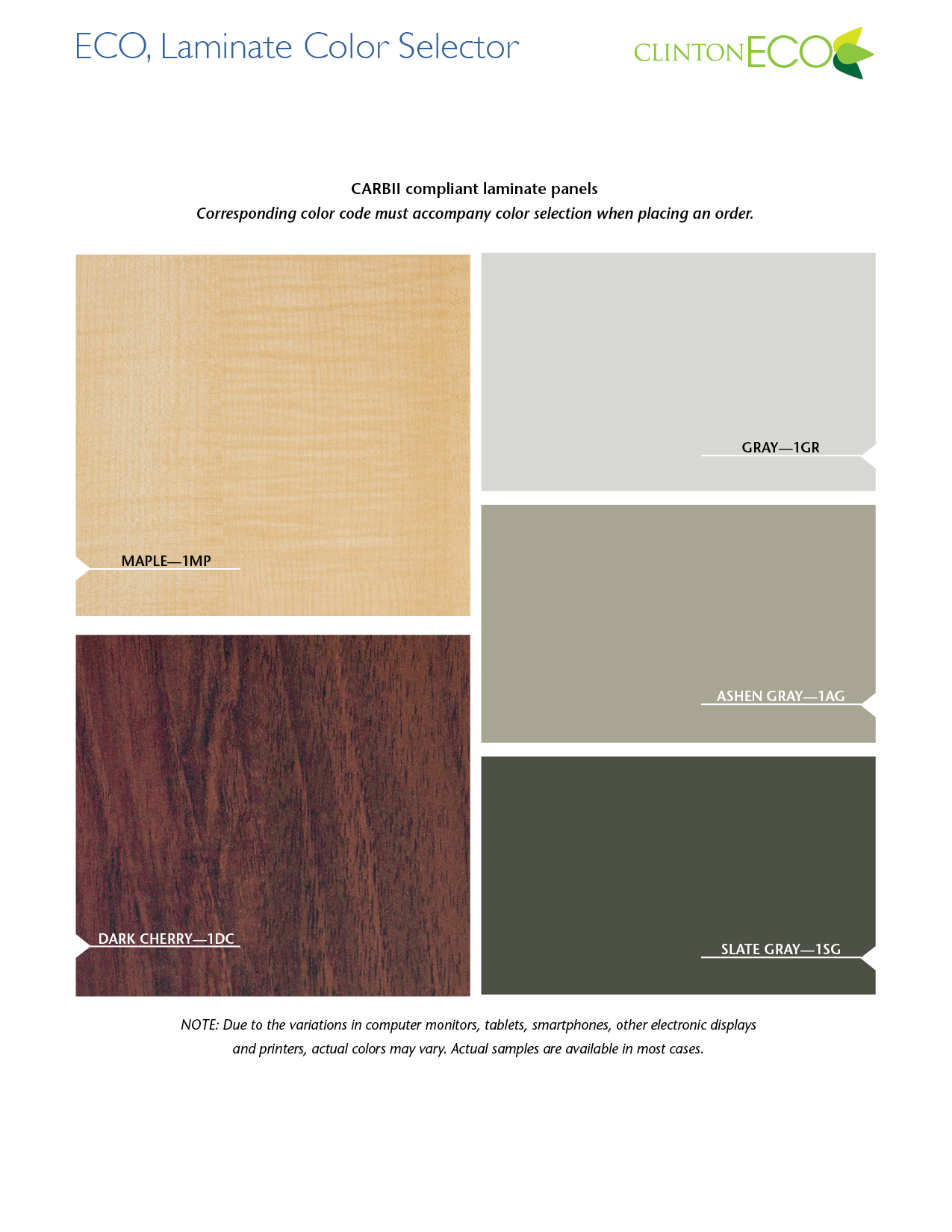ECO, Laminate Color Selector