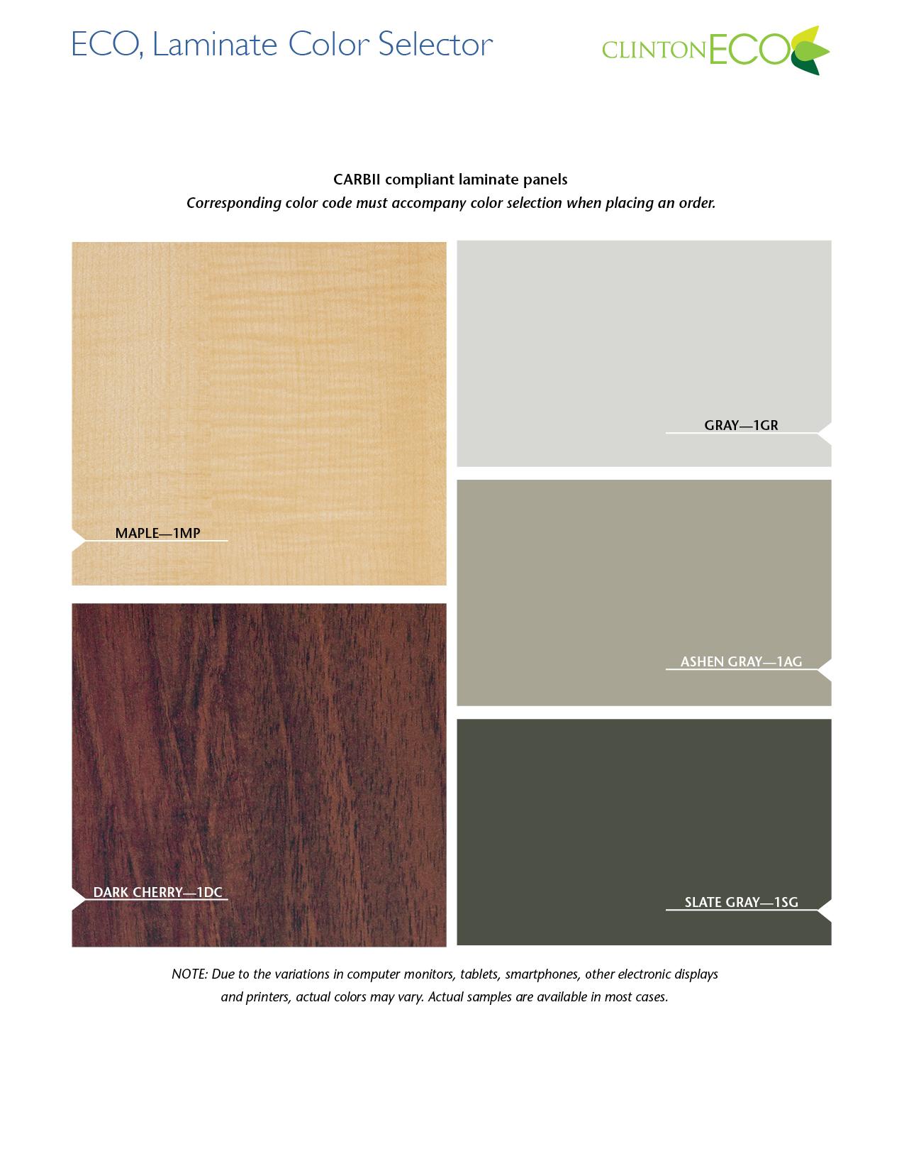 ECO, Laminate Color Selector