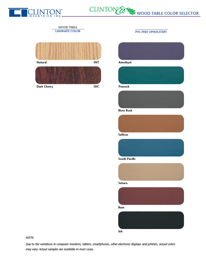 Eco Wood Tables Color Chart