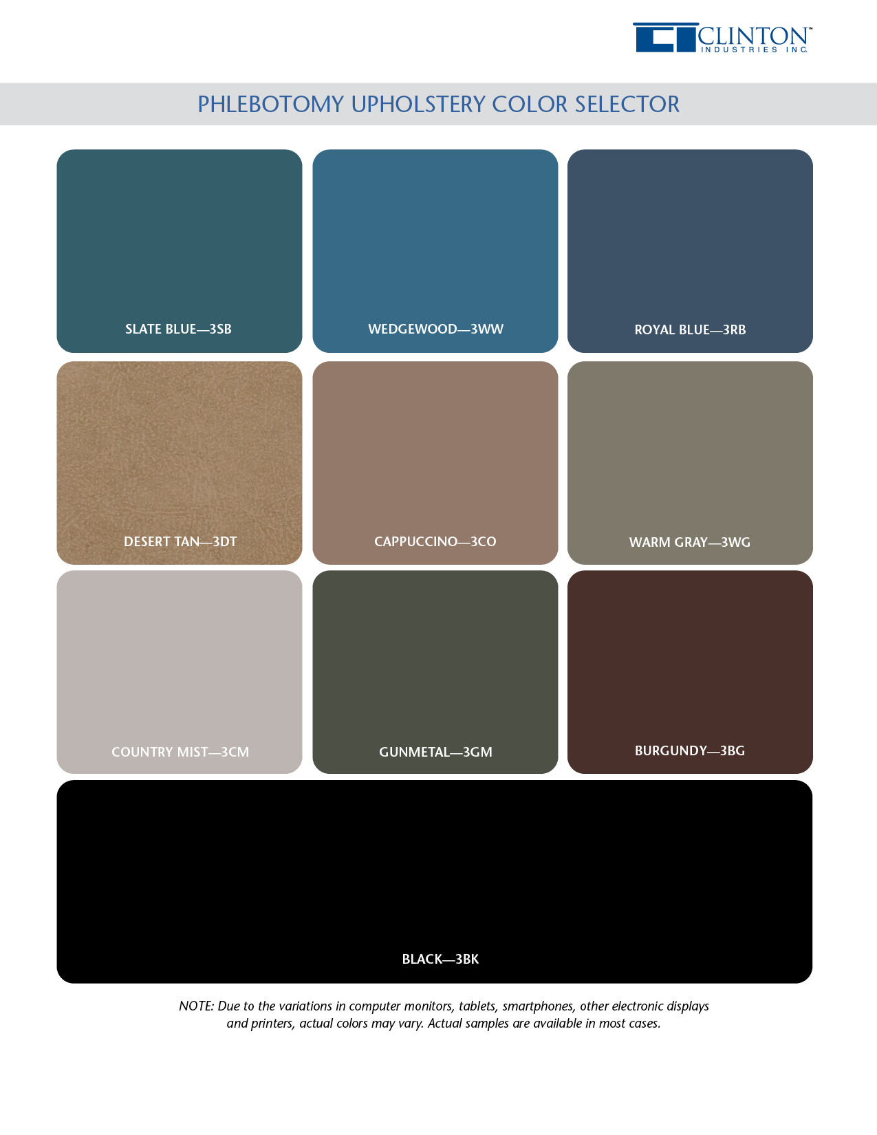 Phlebotomy Upholstery Color Chart