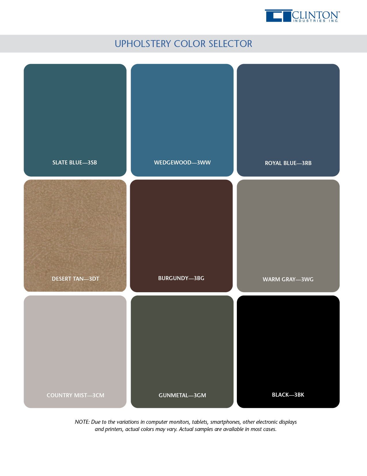 Upholstery Color Selector