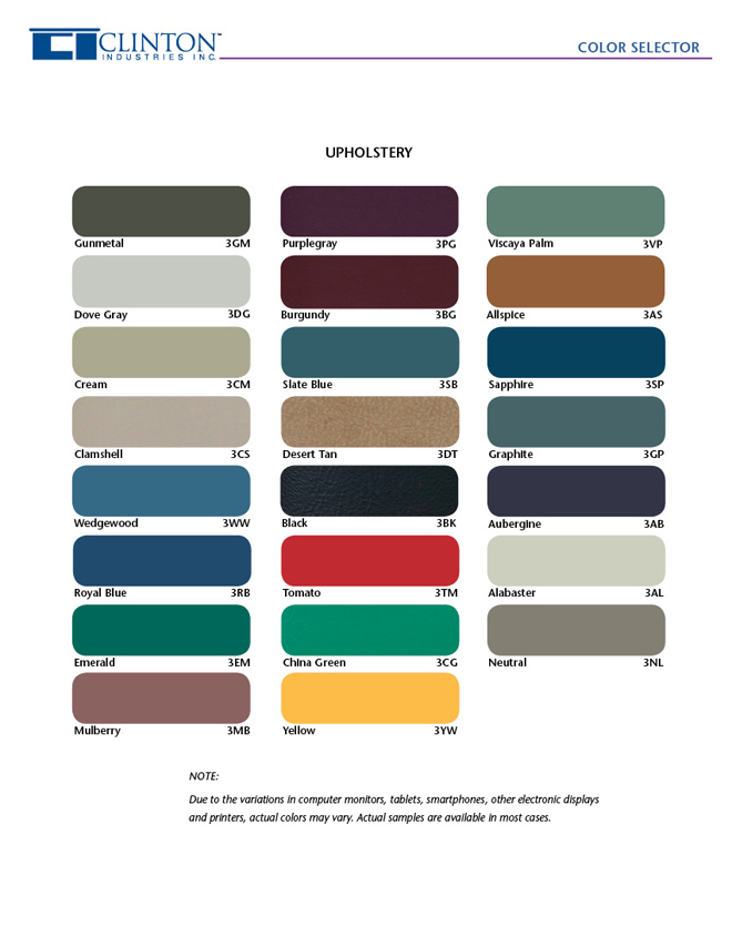 Upholstery Color Chart