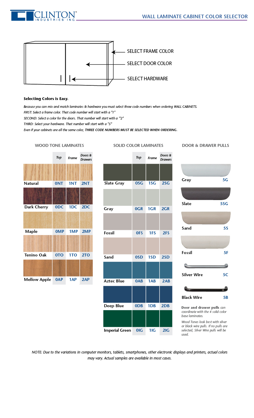 Wall Laminate Cabinet Color Selector