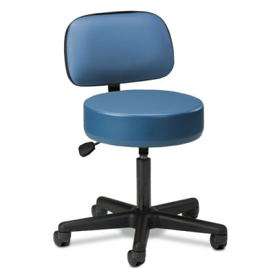 Black Base, 5-Leg, Pneumatic Stool with Backrest