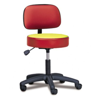 5-Leg Pneumatic Stool with backrest and Multi-Color Top