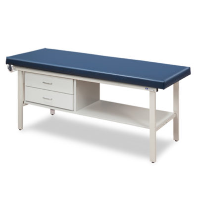 Flat Top Alpha-S Series Straight Line Treatment Table/Shelf and Two Drawers