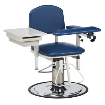 H Series, Padded, Blood Drawing Chair with Padded Flip Arm and Drawer