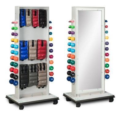 Combo Mirror Cuff Weight and Dumbbell Rac
