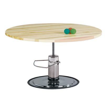 Hardwood, Round Top, Hydraulic Table
