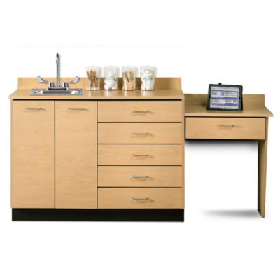 Base Cabinet Set with 2 Doors, 5 Drawers and Desk