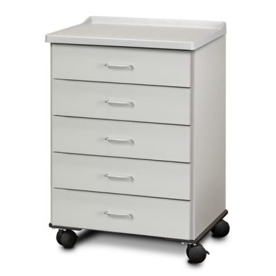 Molded Top, Mobile Treatment Cabinet with 5 Drawers