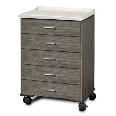 Fashion Finish, Molded Top, Mobile Treatment Cabinet with 5 Drawers