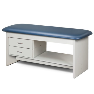Flat Top, Style Line, Straight Line Treatment Table with Shelf and Two Drawers