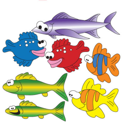 School of Fish (Left Facing) Wall Stickers