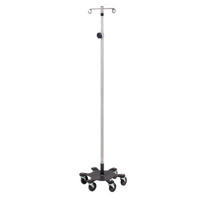 *Six-Leg, Space-Saver, Heavy-Duty, Stainless Steel 2-Hook Infusion Pump Stand