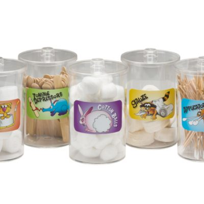 Labeled, Clear Plastic, Animal Pals, Sundry Jars