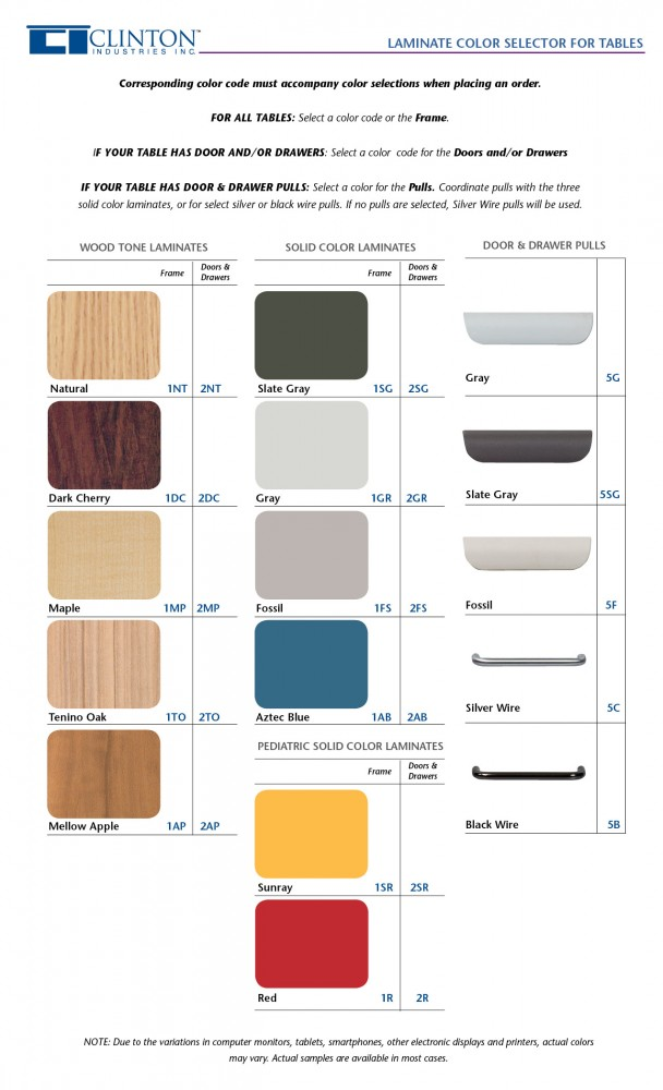 Clinton Laminate Color Selector for Tables
