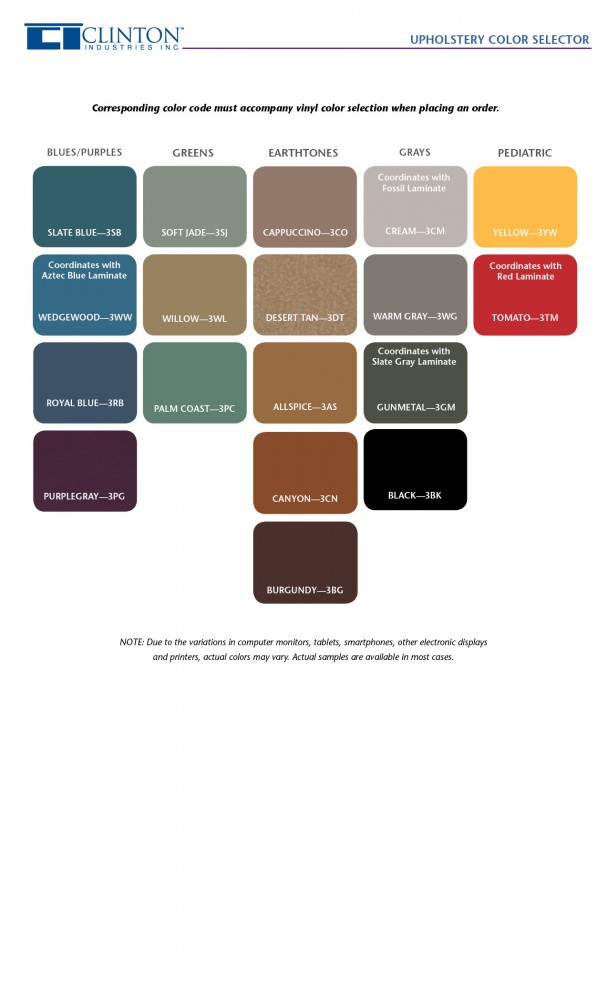 Clinton Standard Upholstery Color Selector