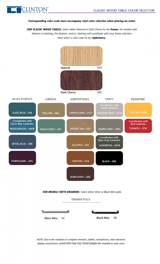 Clinton Classic Wood Table Color Selector