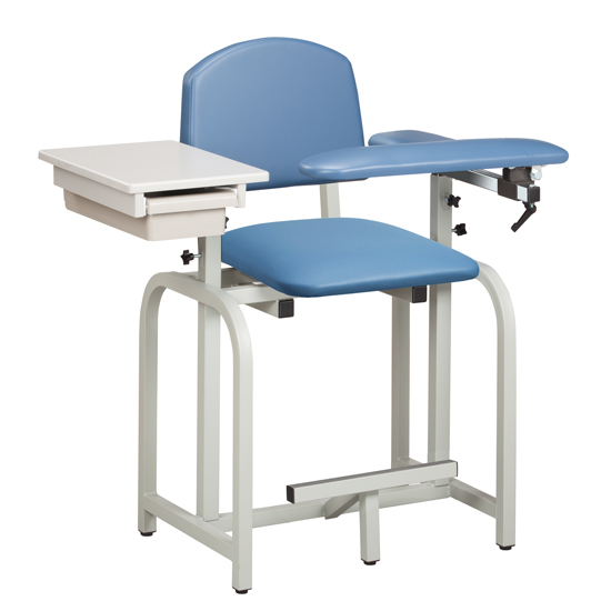 chair drawing. lab x series, extra-tall, blood drawing chair with padded flip arm and