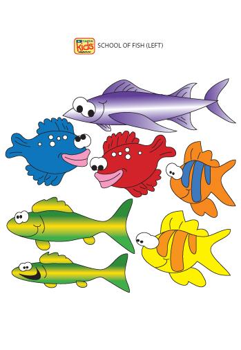 School of fish left facing wall stickers clinton for Blue fish pediatrics