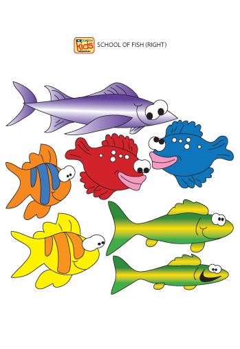 School of fish right facing wall stickers clinton for Blue fish pediatrics
