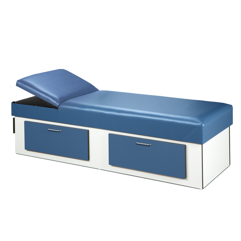 Upholstered Apron Couch With Double Drawer Storage