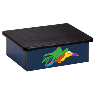 Rainforest Parrot Blue Laminate Step Stool