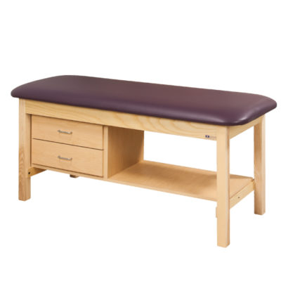 Flat Top Classic Series Treatment Table with Shelf and Two Drawers