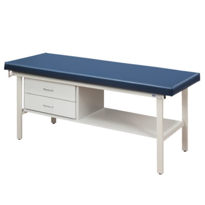 Flat Top Alpha S-Series Straight Line Treatment Table/Shelf and Two Drawers
