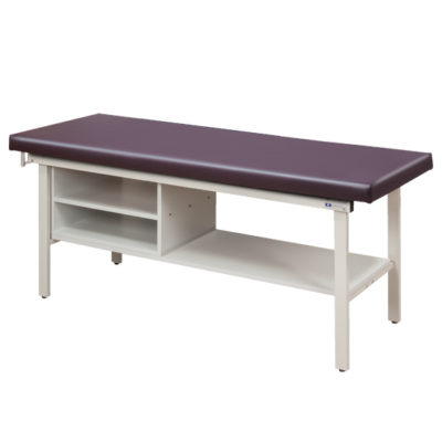 Flat Top Alpha S-Series Straight Line Treatment Table with Shelving