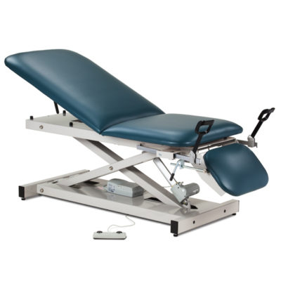 Open Base Power Table with Adjustable Backrest, Footrest and Stirrups
