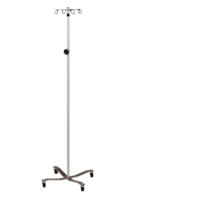 Stainless Steel IV Pole with 4-Hook Top