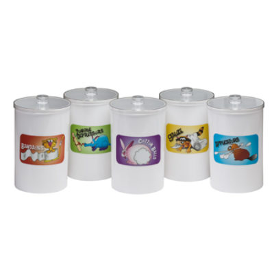 Labeled, Opaque Plastic, Animal Pals, Sundry Jars