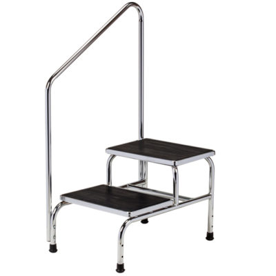 Chrome Two-Step Step Stool with Handrail