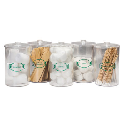 Labeled, Clear Plastic, Sundry Jars