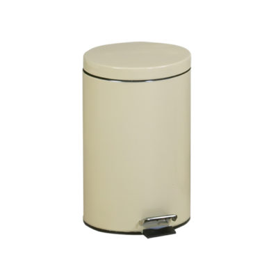 Small Round Beige Waste Receptacle