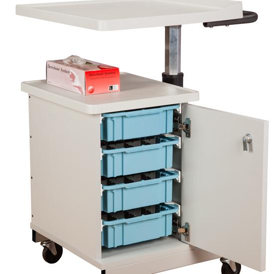 Large H Base Pneumatic Four Bin Phlebotomy Cart